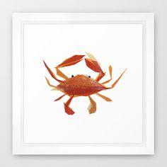 Clementine Crab Framed Art Print