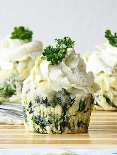 SpinachFeta Muffins with Herb Cream Cheese