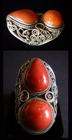 Mongolia   Old silver and coral ring   POR