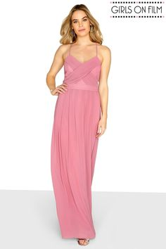 L2018 Buy Girls On Film Chiffon Pleat Front Detail Strappy Maxi Dress from Next Poland