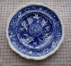 """W.T.Copeland and Sons """"Love Chase"""" in Blue Transferware. Old Mark. Made in Stoke-on-Trent, England. by HomecomingDiningRoom on Etsy"""