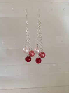 Swarovski pearl dangle earrings pink fuschia and by JewelryByDayna, $13.00