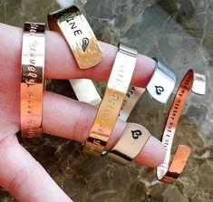 Inspirational Bracelet Strong, Hand Stamped Bracelet - Custom Bracelet Cuff - Your Name Here, Bible Verse, Mantra, Inspirational Jewelry Metal Bracelets, Cuff Bracelets, Silver Bracelets, Thing 1, Personalized Bracelets, Hand Stamped Jewelry, Metal Stamping, Jewelry Stamping, Cartier Love Bracelet