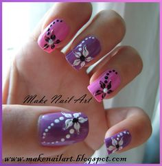 Hawaiian Flower Nail Art | Nail Art Design Short French Manicure Blackwhite Flower Pictures