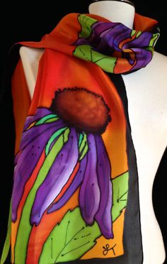 Gorgeous silk scarf hand painted Echinacea by FantasticPheasant, $45.00