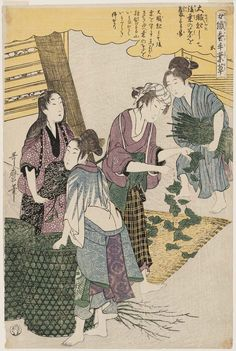 (Japan) No.5 from the series Women Engaged in the Sericulture Industry by Kitagawa Utamaro (1753- 1806).
