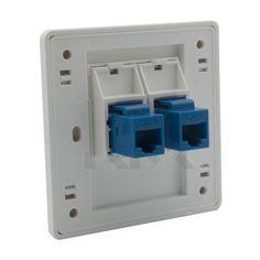 2 ports CAT6 RJ45 netzwerk wandplatte mit buchse auf buchse