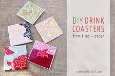 DIY Coasters DIY Drink Coasters from Tiles Paper DIY Coasters
