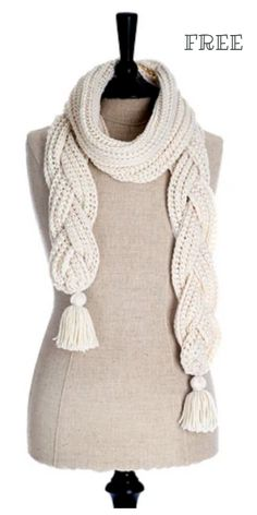 Crochet Braided Scarf Free Patterns - - La Brioche Scarf Free Crochet Patterns Source by DIYDailyMag Woven Scarves, Crochet Scarves, Crochet Shawl, Crochet Clothes, Knitting Scarves, Crochet C2c, Amigurumi Patterns, Knitting Patterns Free, Free Pattern