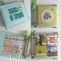 Signs of Spring, by Miriam Rodriguez using the Marrakesh collection from www.cocoadaisy.com #cocoadaisy #scrapbooking #kitclub #minibook #mini #album #spring #diecuts #ribbon #pocketpages