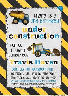 2nd Birthday Under Construction Invitations - Boy Dump Truck Dirt
