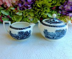 Beautiful Wedgwood Etruria England Black & White Transferware Sugar & Creamer #Wedgwood