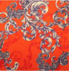 Red Baroque Style Printed Linen