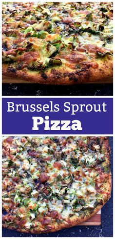 4 Points About Vintage And Standard Elizabethan Cooking Recipes! The Unique Combination Of Brussels Sprouts, Pesto And A Balsamic Reduction Truly Make This Pizza Bold, Beautiful, And Bound To Please, Even People Who Don't Love Their Veggies. Entree Recipes, Pizza Recipes, Healthy Dinner Recipes, Vegetarian Recipes, Healthy Meals, Delicious Recipes, Flatbread Recipes, Cooking Recipes, Yummy Food