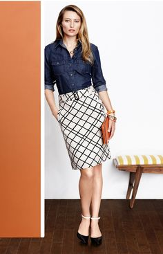 Banana Republic - Spring Outfit with Denim and Pencil Skirt