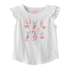 Featuring a high-low hem and an inverted back pleat, this girls' Jumping Beans graphic tee adds updated style to her everyday wardrobe. Toddler Girl Outfits, Toddler Girls, Printed Tees, Kids Wear, Jumping Beans, Graphic Tees, Clothes, High Low, 18 Months