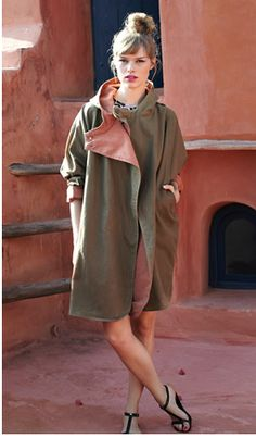 Kate Sheridan khaki raincoat. At last, a hooded raincoat smart enough to wear to work. A bit pricey though at £269, even with 25% off in the sale (image: Plumo.co.uk)