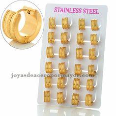 argollas 13 mm de polvo brillante en acero dorado inoxidable para mujer…