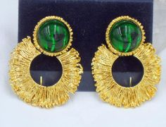 Vintage Givenchy Door Knocker Green Gripoix Earrings Goldtone Dangle clip on High End jewelry Round large Bold signed designer Hoops chunky Antique Jewelry, Vintage Jewelry, Givenchy Jewelry, Jewelry Quotes, Jewelry Gifts, Jewellery Box, Jewelery, Jewelry Design, Sequins