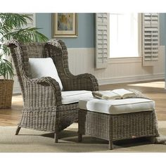 Panama Jack Sunroom Exuma Arm Chair and Ottoman Color: Dimone Palm