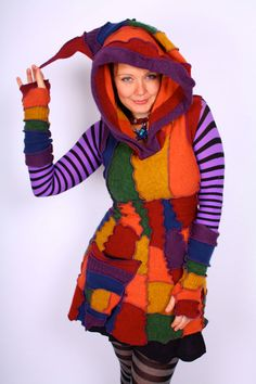 Sweater Dress  Recycled Elf Rainbow by Katwise  by katwise on Etsy, $129.00