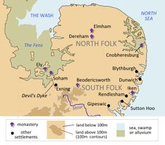 Map of East Anglia and location of Sutton Hoo ship burial, near Rendlesham, the royal center for the East Anglian Kings. Anglo Saxon History, British History, Uk History, Sutton Hoo, Relationship Over, What Is Today, King John, Archaeological Finds, North Sea