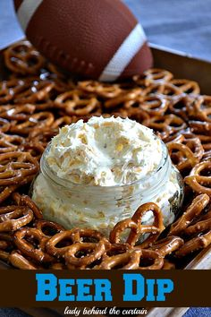 Beer Dip For Pretzels  4 - 8 oz pkg cream cheese 1 1/3 c beer 2 envelopes dry ranch dip mix 4 c finely grated cheddar cheese  Blend softened cream cheese and beer... Mix in packets of ranch and cheddar.  Friends from Wisconsin introduced us to this a couple years back and it's a crowd pleaser!