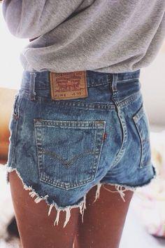 Levis High waisted denim shorts distress cutoff jean shorts custom ...
