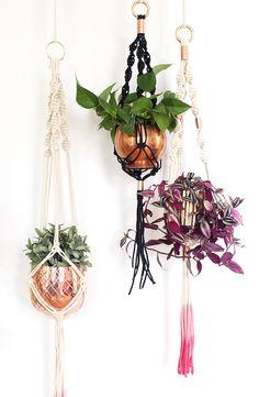 Fellibay Netztasche f/ür H/ängende Makramee Blumenampel Garten Blument/öpfe 2 St/ück Makrame Pflanzenaufh/änger