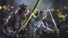 Hanzo and Genji Overwatch Art Wallpaper