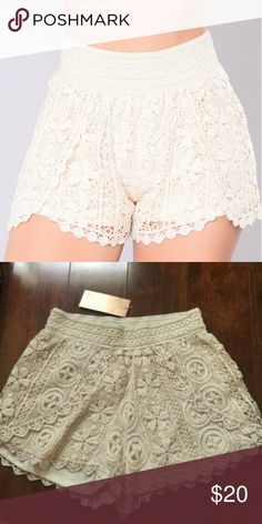 Francesca's Crochet Shorts Up for sale is the pair of trendy shorts bought from Francesca's! Perfect for those hot summer days these shorts are an essential bohemian wardrobe staple. Elasticized waist makes it so a variety of sizes can fit. Never worn. Francesca's Collections Shorts