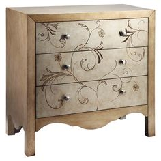 Found it at Wayfair - Shannon 3 Drawer Chest in Gold