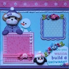 WINTER-SNOW-Tear-Bear-Paper-Piecing-Premade-Layout-4-Album-ELITE4U-3paperwishes