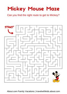 Free Disney Printables for Kids: Mickey Mouse Maze
