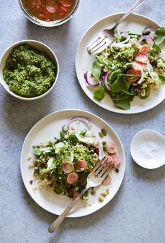 Cauliflower Lentil Grain Salad with Pumpkinseed Pesto & Pickled Radishes / Sassy Kitchen (gluten-free)