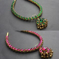 Reversible Addigai From Macs Jewellery ~ South India Jewels Gold Temple Jewellery, Real Gold Jewelry, Gold Jewelry Simple, Silver Jewellery, Ruby Jewelry, India Jewelry, Antique Jewellery, Ruby Necklace Designs, South India