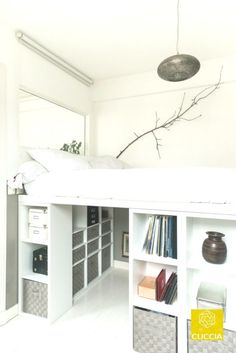 How to DIY a king size loft bed? So I was thinking of getting a king size loft bed with space for a desk underneath. However, the biggest IKEA loft bed is only a double bed size. Room Design Bedroom, Room Ideas Bedroom, Small Room Bedroom, Dorm Room, Room Decor, Bedroom Furniture, Bedroom Black, Bed Rooms, Furniture Layout