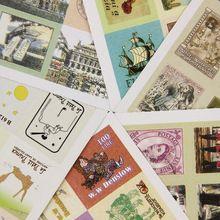 Etiqueta Engomada de Papel Vintage Retro Clásico Viejo París Londres Sello Pegatinas Para La Decoración de Scrapbooking Álbum Diario 4 Hojas(China (Mainland))