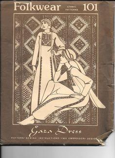 Vintage 1970's Folkwear 101 GAZA DRESS Sewing Pattern Middle East Gown Costume…