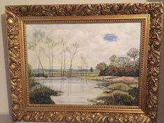 Oil-Painting-Titled-Flood-Water-By-The-Chelmer-Artist-R-Henri-Wheeler