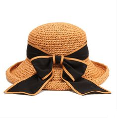 Coffee straw hat for women large bow decoration summer UV sun hats | Buy cool cap,fashion hats on buyhathats.com