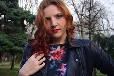 Nature, leather jacket, flowers, redhead