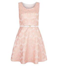 Mela Pink Floral Print Belted Skater Dress | New Look