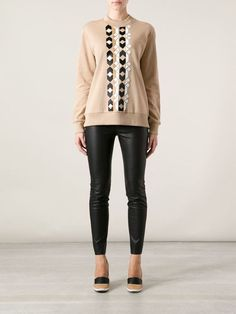 BNWT GIVENCHY EMBELLISHED SWEATER WITH LEATHER DETAILS SIZE SMALL,1700$,lanvin #GIVENCHY #Crewneck