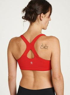 Oiselle - new lesko bra with removable cups - fast red $37