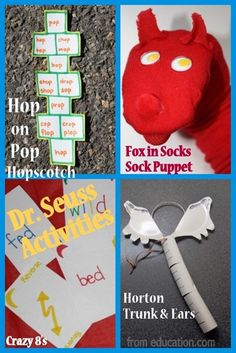 Dr. Seuss Activities and Crafts from education.com for #read across america week, Hop on Pop, Fox in Socks, Horton and more