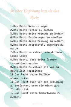Deine Rechte und Bedürfnisse in einer Beziehung zu kennen, hilft dir deine Grenzen zu wahren. Intuition, Words, Toxic Relationships, Healthy Relationships, One Sided Relationship, Inner Child, Gut Feeling