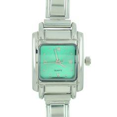 Italian Charms - square green christmas watch st.  patrick' s day italian charms fashion jewelry hand painted italian charm watch Image.
