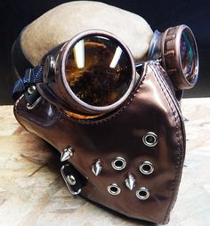STEAMPUNK MASK - Copper 2 pc Patent Dust Riding Mask with Metal Spikes and Matching Steampunk Goggles Set - Burning Man by jadedminx on Etsy