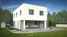 WimbergerHaus Novus mit Flachdach Mansions, House Styles, Home Decor, Flat Roof, Ideas, Decoration Home, Manor Houses, Room Decor, Villas